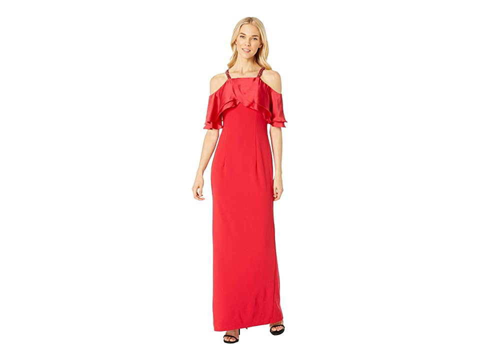 Adrianna Papell Long Crepe Dress Beaded Straps (Red) Women