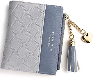Wallet for Women Leather Short Wallet Bifold, RFID Blocking Wallet Credit Card Holder Organizer with Zipper Pocket Mini Lady Purse (Grey)