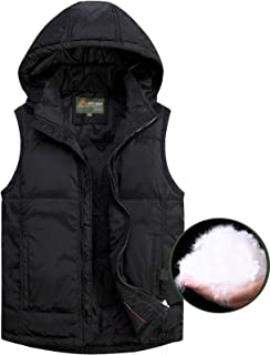 Flygo Mens Warm Detachable Hooded Down Quilted Puffer Vest Sleeveless Jacket