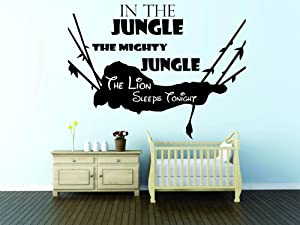 In The Jungle The Mighty Jungle The Lion Sleeps Tonight Song Quote / Disney The Lion King Movie Simba / Nursery Wall Decals for Walls / Stickers Vinyl Art Baby Decor Cute Designs (18x20 inch)