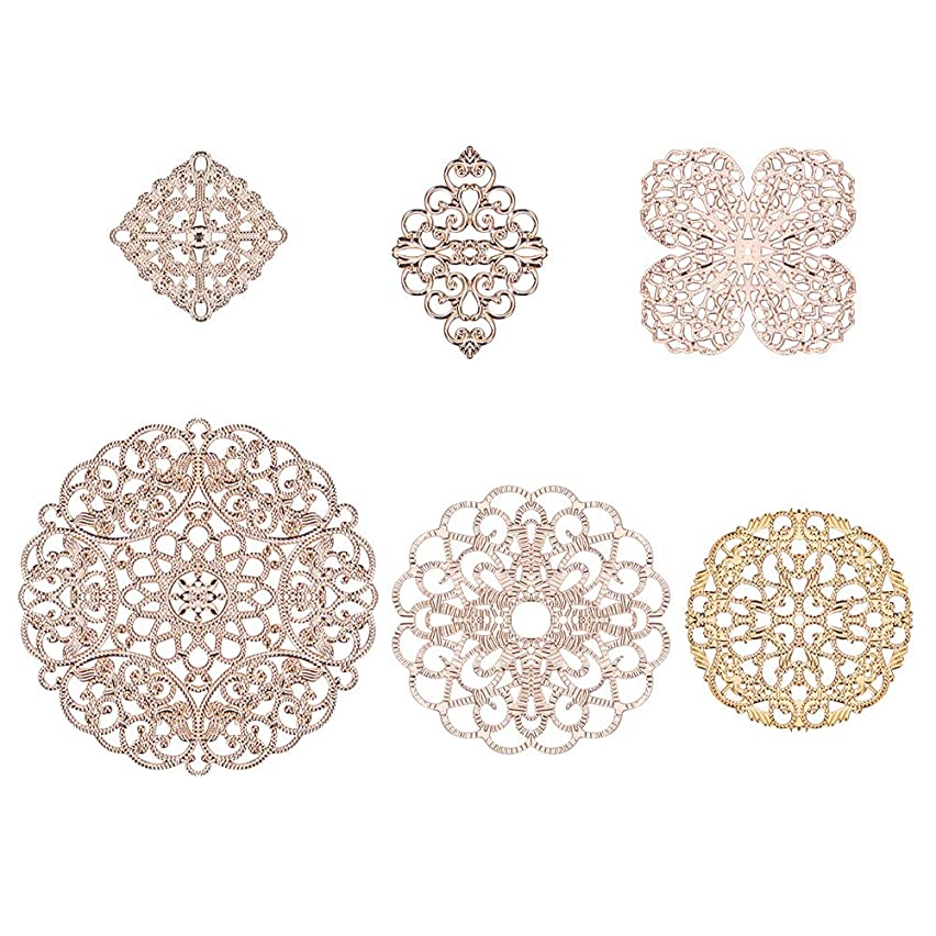 PH PandaHall 12pcs 6 Style Golden Brass Filigree Flower Connectors Charms Pendants for DIY Hairpin Headwear Earring Jewelry Making Findings