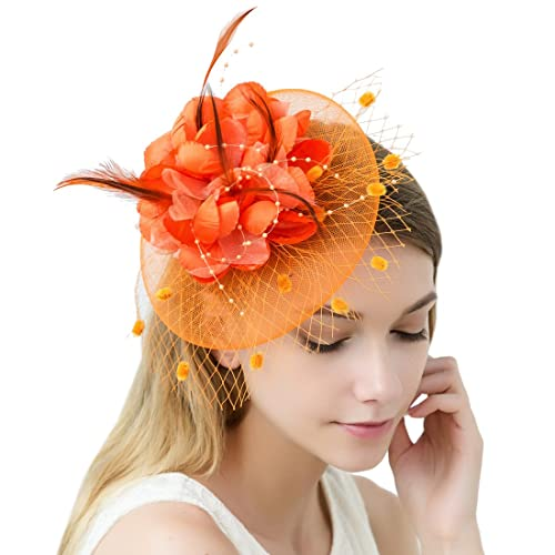 928b8bdf014ff JaosWish Tulle Feather Fascinator Headband Net Flower Hairclip for Cocktail  Party Royal Ascot Wedding Hat