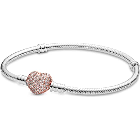 Amazon.com: PANDORA Jewelry Moments Pave Heart Clasp Snake Chain ...