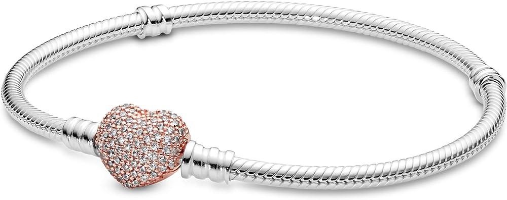 Pandora – bracciale da donna in argento sterling 925 con zirconi,chiusura a ribalta a forma di cuore 590727CZ-16