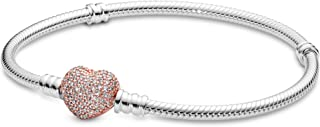 Moments Silver Bracelet with Rose Pave Heart Clasp 586292