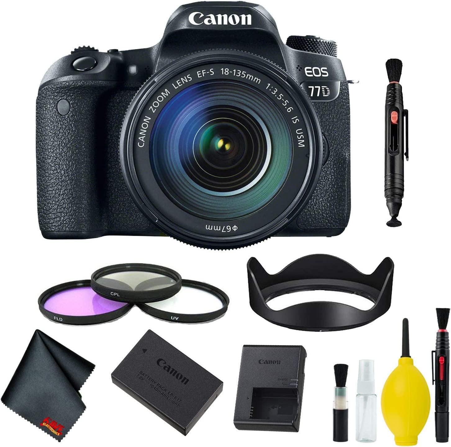 Canon EOS Max 54% OFF 77D DSLR Camera with Lens Filter 18-135mm USM New products world's highest quality popular Kit