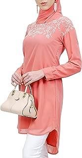 Artizara Hanna Embroidered Formal Long Modest Tunic Top Kurti Tunic Dress - Coral Pink