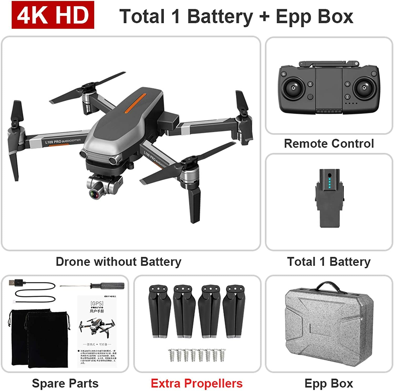 L109PRO GPS Drone 4K Quadcopter 5G WiFi FPV HD ESC avec cam/éra H/élicopt/ère sans balais de Jushye longue dur/ée de vie de la batterie de 3,5 heures cam/éra r/églable grand angle 4K 120 /°