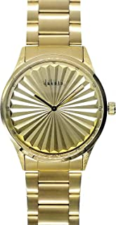 Dakota Hydraulic Press Patterned Large Face Stainless Steel Water Resistant Watch - Mens, Womens, Gold or Rainbow - 40 mm Diameter