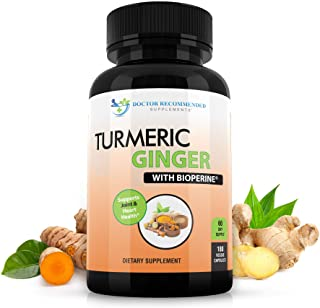 Turmeric Curcumin with Ginger, 95% Curcuminoids with BioPerine - 180 Veggie Capsules - Made in USA Natural Immune Support ...