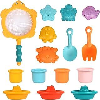 اسباب بازی های حمام کودک FYSJ 15 عددی برای کودکان نوپا اسباب بازی های استخر 1 2 3 ساله کودکان و نوجوانان اسباب بازی های ساحلی برای دختران پسر بچه ها قایق های شناور لیوان های انباشته اسباب بازی های حمام ست هدیه برای کودکان