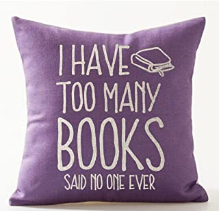 Book Lover Reading Book Club I Have Too Many Books Purple Background Cotton Linen Decorative Throw Pillow Case Cushion Cover Square 18