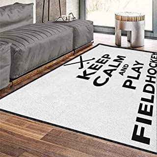 Hockey Multi-Color Modern Area Rug,Keep Calm and Play Fieldhockey Phrase in Black and White with Sticks and Ball Icon Chic Geometric Design Black White 79