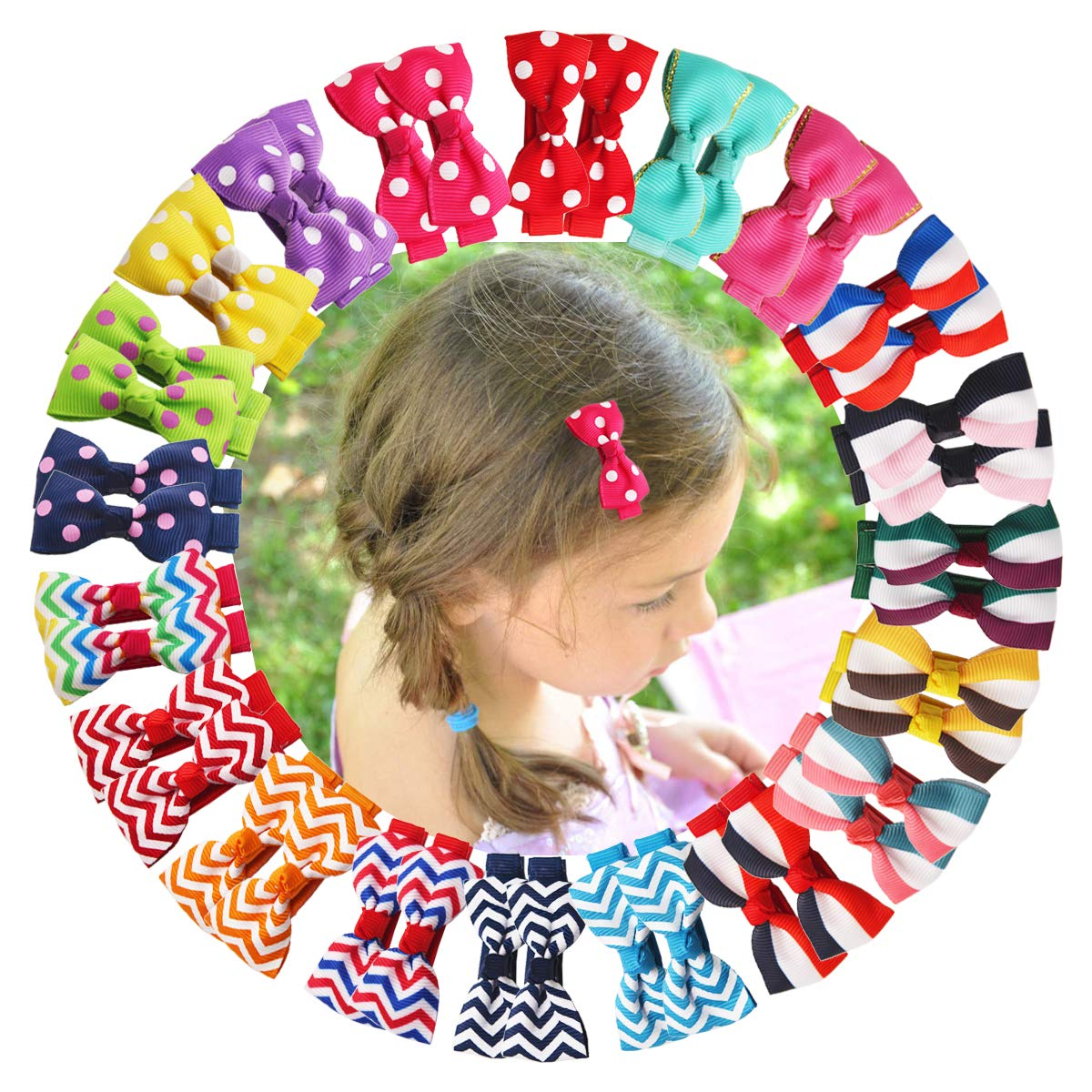 40PCS 20Colors In wholesale Pair Baby Girls Gro OFFer Bows 2Inch Hair Tiny Clips