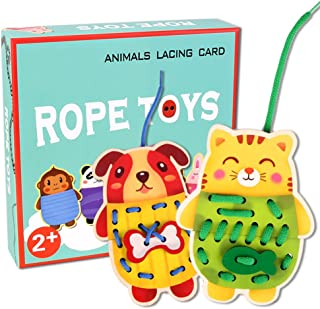 KateDy Wooden Animals Lacing Cards for Toddler, Montessori Activity Learning Toys Lacing & Tracing Cards for Preschool Children, 5 Pcs Rope Toy Educational Wood Block Puzzles