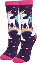 Women's Novelty Crazy Unicorn Cotton Crew Socks, Funny Cute Magical Design Gifts