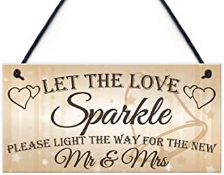 Aianhe Let The Love Sparkle Hanging Wood Wedding Signs for Wedding Day Decoration 10