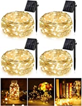 Gluckluz Solar String Lights for Indoor Outdoor Garden 200 LED Warm Copper Wire Lighting Fairy Decoration Lamp Waterproof for Patio Home Yard Party Wedding Festival (4 Packs)