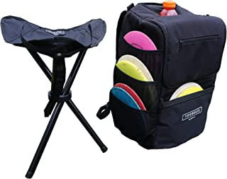 The Throwback TriPack Frisbee Disc Golf Bag | Disc Golf Backpack with Seat and Cooler | 16 Disc Capacity | Tripod Stool | Soft-Sided Cooler