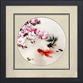 King Silk Art 100% Handmade Embroidery Framed Two Red Koi Couple with Magnolia Flower Oriental Wall Hanging Art Asian Decoration Tapestry Artwork Picture Gifts for Wedding & Anniversary
