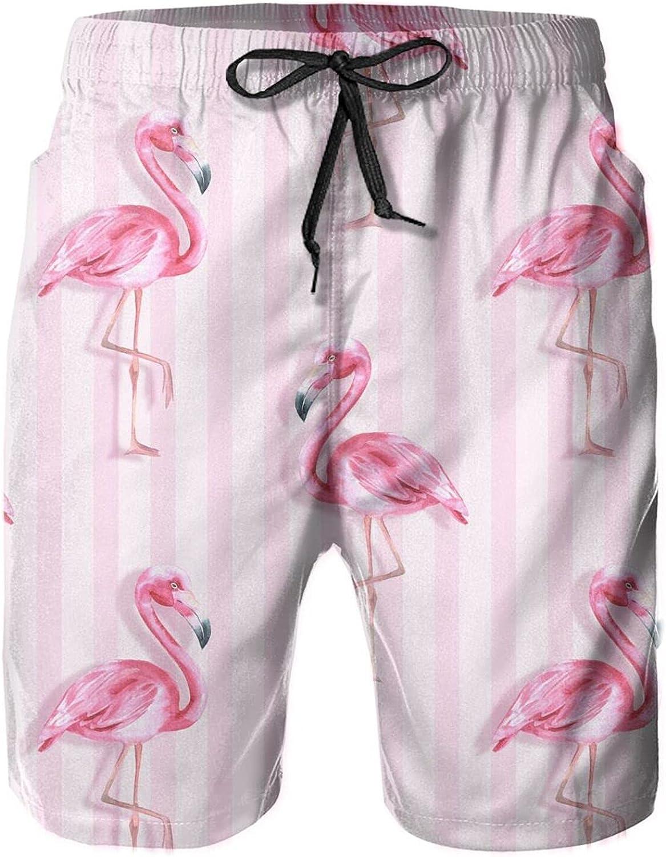 Pink Flamingo Stripes Men's Swim Trunks Quick Dry Beach Board Sh
