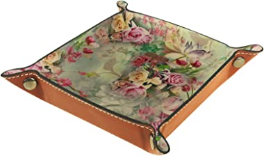 Leather Valet Tray, Dice Tray Folding Square Holder, Dresser Organizer Plate for Change Coin Key Vintage Flower Nature Rose L