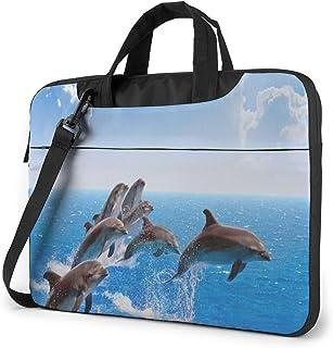 "Jumping Dolphin Laptop Bag Protective Case Computer Messenger Briefcase Women Men 13"""