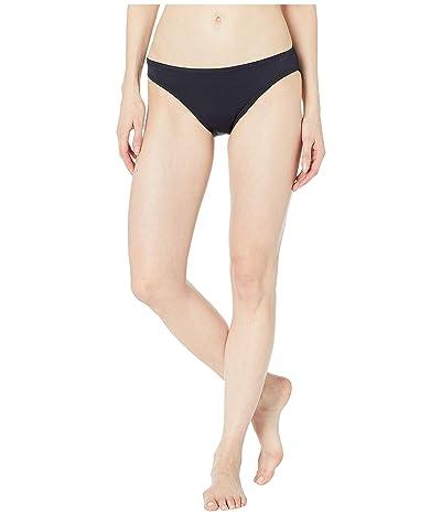 MICHAEL Michael Kors Iconic Solids Logo Ring Peekaboo Bikini Bottoms (Black) Women