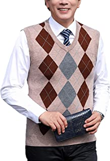 Sexy Dance Men's V-Neck Plaid Geometric Patterns Knitted Sleeveless Jumper Casual Checked Pullover Outerwear Gilets Tank Tops