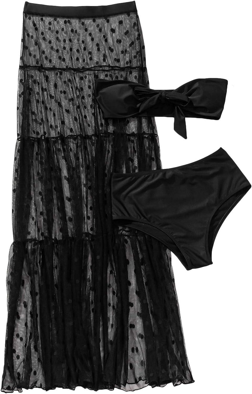 SheIn Women's 3 Pieces Tie Front Tube Top Bikini Swimsuit and Swimwear Cover Up Beach Skirt
