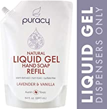 Puracy Natural Liquid Gel Hand Soap Refill, Lavender & Vanilla, Sulfate-Free Hand Wash, 64 Ounce