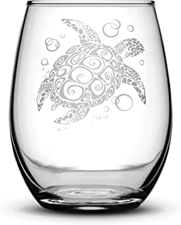 Integrity Bottles Sea Turtle Stemless Wine Glass, Tribal Design, Hand Etched 14.2 oz Unique Gifts, Made in USA, Sand Carved