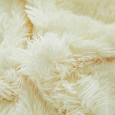 Joyreap 1PC Plush Shaggy Duvet Cover, Queen Size Luxury Faux Fur Velvet Fluffy Duvet Cover, Hidden Zipper n Tie Corners (Crea