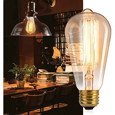Edison Light Bulbs, Brightown 4Pcs Vintage 60 Watt Incandescent Light Bulbs E26 Base Dimmable Decorative Antique Filament Light Bulbs 252 Lumens