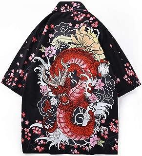 Men's Japanese Floral Printed Kimono Cardigan Jackets Top