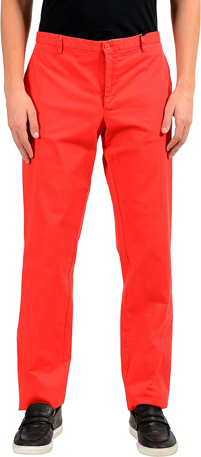 Versace Collection Men's Red Stretch Casual Pants US 38 IT 54