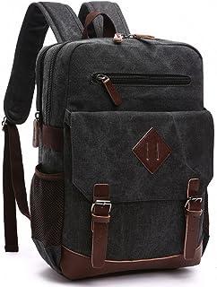 Kenox Mens Large Vintage Canvas Backpack School Laptop Bag Hiking Travel Rucksack