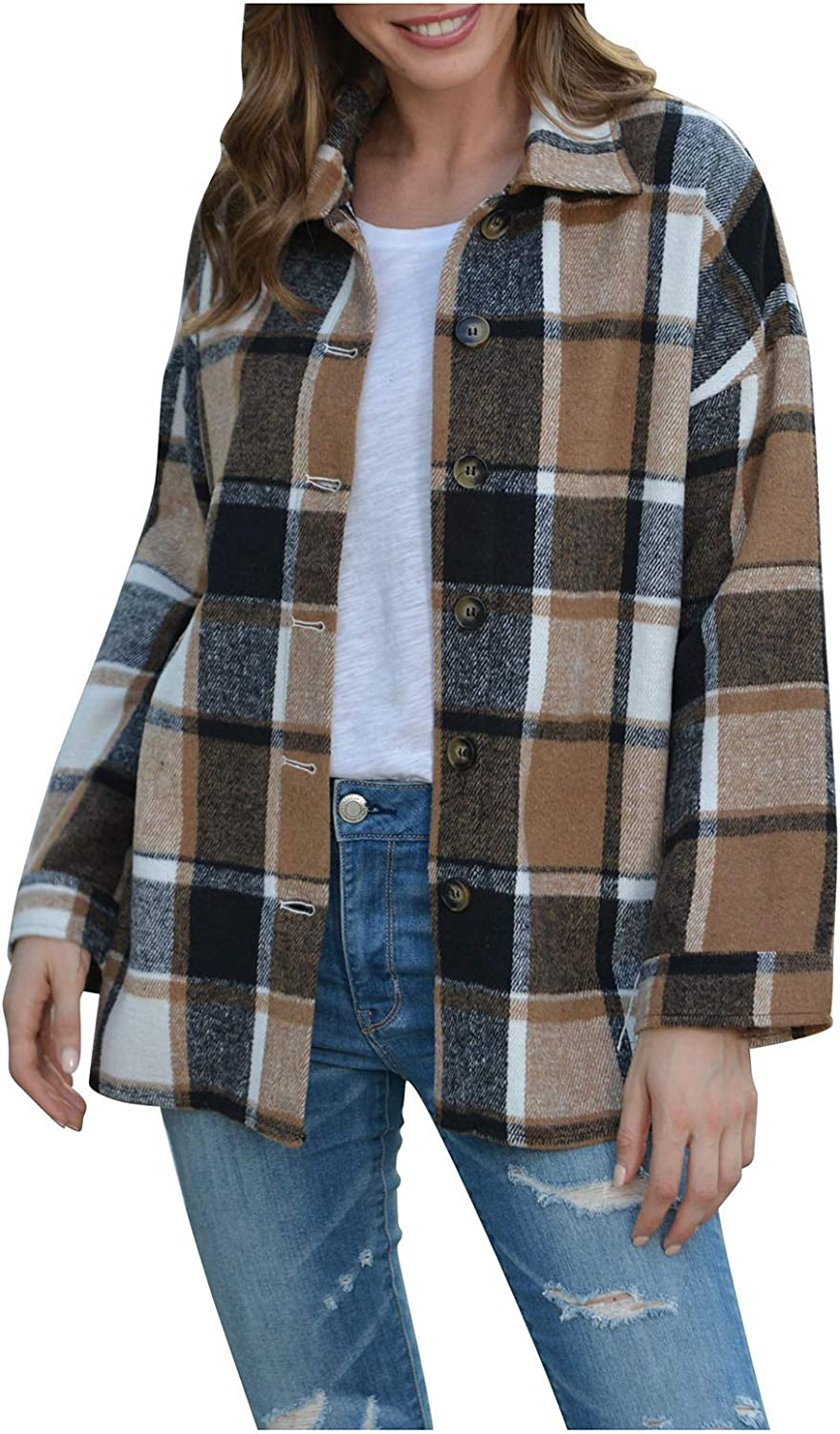 Forwelly Women Fall Winter Plus Size Overcoat Classic Plaid Long Sleeve Jacket Casual Coat