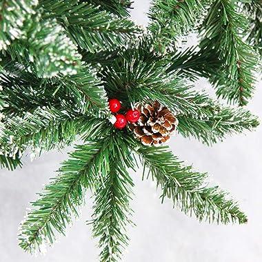 XUELIAIKEE Nieve Acudieron Árbol De Navidad Artificial,Premium con Bisagras Abeto Árbol Apagado Abeto Navidad con Conos De Pi