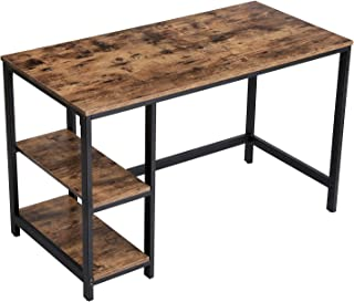VASAGLE Industrial Computer Writing Desk, 47 Inch Office Study Desk for Laptops, with 2 Storage Shelves on Left or Right, Stable Metal Frame ULWD47X