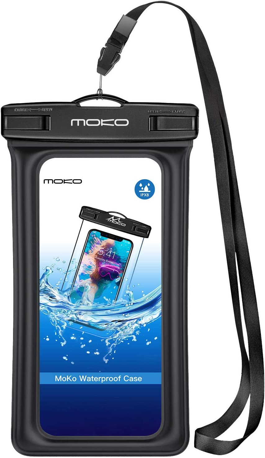 MoKo Floating Waterproof Phone Pouch Holder, Floatable Phone Case Dry Bag with Lanyard Armband Compatible withiPhone 13/13 Pro Max/iPhone 12/12 Pro Max/11 Pro, Xr/Xs Max,8/7, Samsung S21/S10/S9/S8