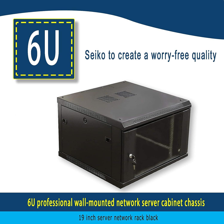6U Professional Wall-Mounted Network Server Cabinet Frame 19-inch Server Network Rack, Black