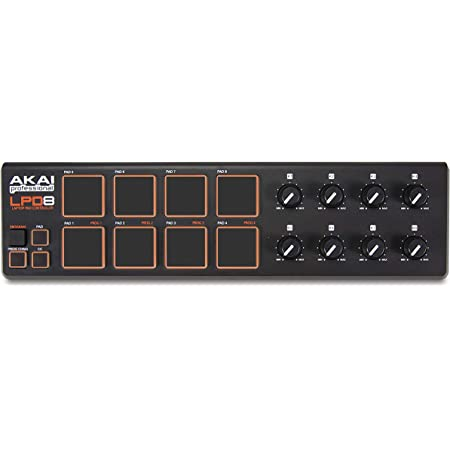 AKAI Professional LPD8 | Portable USB-powered MIDI Controller with 8 Velocity-Sensitive Drum Pads for Laptops (Mac & PC), Editing Software included