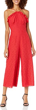 Keepsake the Label Womens 30190143 Higher Sleeveless Halter Cropped Lace Jumpsuit Jumpsuit - red