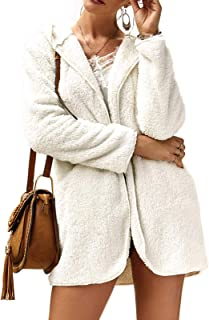 Ayans Women's Furry Faux Fur Open Front Hooded Long Sleeve Pockets Cardigan Coat