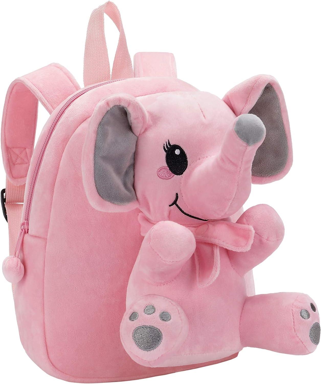 Toddler Backpack Kids Girls Mini Backpack with Removable Cute Toy Elephant for Girls Boys Preschool Backpack Schoolbag Bookbag (Pink)