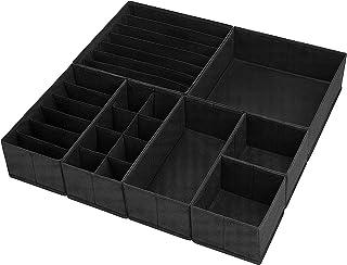 DIMJ Lot de 7 boîtes de rangement pliables en tissu pour vêtements, sous-vêtements, chaussettes, cravates, foulards, linge...