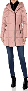French Connection Women's Asymmetrical Puffer with Faux-Fur Bib