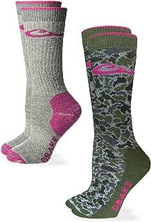 Drake Women's Camo Pink Merino Wool Midweight Crew Boot Socks 2 Pair Pack, Grey Fuchsia, Medium
