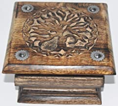 Nature's Enlightenment Tree Carved Box- Tarot Cards, Crystals, Altar Supplies, Healing, Meditation, Gift Giving